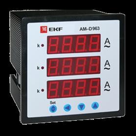 Амперметр цифровой AM-D963 на панель 96х96 трехфазный EKF