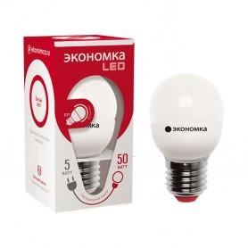 Лампа светодиодная GL45 5Вт шар 4500К белый E27 350лм 220-240В 45мм ЭКОНОМКА