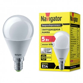Лампа светодиодная 94 478 NLL-P-G45-5-230-4K-E14 5Вт шар 4000К белый E14 370лм 220-240В Navigator