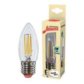 Лампа светодиодная LED Филамент 5Вт Свеча 160-260В E27 450лм 4500К ЭКОНОМКА