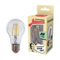 Лампа светодиодная LED Филамент 8Вт грушевидная A60 160-260В E27 860лм 4500К ЭКОНОМКА