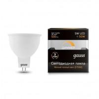 Лампа светодиодная диммируемая MR16 5Вт 2700К тепл. бел. GU5.3 500лм 180-265В GAUSS