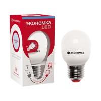 Лампа светодиодная GL45 7Вт шар 6500К холод. бел. E27 600лм 220-240В 45мм ЭКОНОМКА