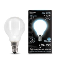 Лампа светодиодная Filament Шар E14 5Вт 4100К OPAL GAUSS