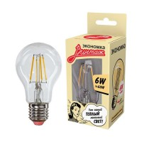 Лампа светодиодная LED Филамент 6Вт грушевидная A60 160-260В E27 600лм 2700К ЭКОНОМКА