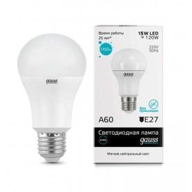 Лампа светодиодная Elementary A60 15Вт грушевидная 4100К белый E27 1450лм 180-240В GAUSS
