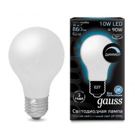 Лампа светодиодная Filament A60 E27 10Вт 4100К OPAL диммир GAUSS