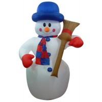 Фигура Снеговик с метлой 3D надувная 180см внутр. подсв. 15Вт 12В IP44 (с блоком питания и компрес.) NEON-NIGHT