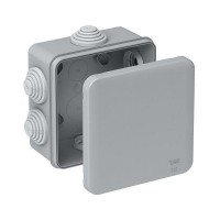 Коробка монтажная распределительная 100х100х50 мм с крышкой для открытого монтажа, 6 вводов, IP55