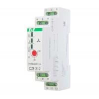 Реле контроля и наличия фаз CZF-312 (монтаж на DIN-рейке 35мм; регулировка порога; без задержки отключения; 3х400/230+N 2х8А 1Z 1R IP20) F&F