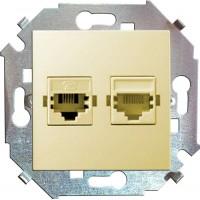 Механизм розетки комп. СП Simon15 2мод. RJ45 + RJ45 сл. кость Simon