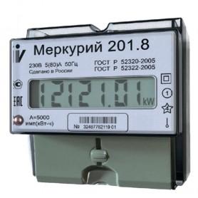 Счетчик Меркурий 201.8 1ф 5-80А 1 класс точн. 1 тариф. имп. вых. ЖКИ табло DIN-рейка Инкотекс