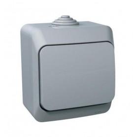 Выключатель 1 клавишный IP44 серый Этюд