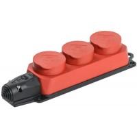 Розетка 3-м ОМЕГА РБ33-1-0м IP44 каучук красн. IEK PKR61-016-2-K04