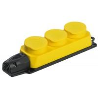 Розетка 3-м ОМЕГА РБ33-1-0м IP44 каучук желт. IEK PKR61-016-2-K05