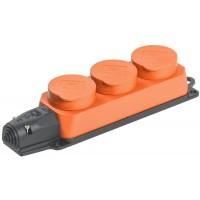 Розетка 3-м ОМЕГА РБ33-1-0м IP44 каучук оранж. IEK PKR61-016-2-K09