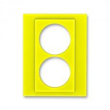 Сменная панель ABB Levit на розетку с заземлением двойную жёлтый