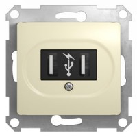 Розетка USB бежевый Glossa