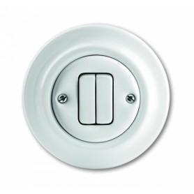 Кнопка 2-клавишная 1-пол. 10А альпийский белый Decento
