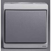 Выключатель кнопочный 1 клавишный IP55 серый Mureva