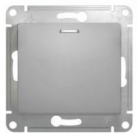 Переключатель 1 клавишный с подсветкой алюминий Glossa