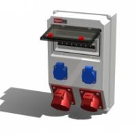 Alpenbox, розетка встр. 16А/400В/5П/IP44 - 1шт, 16А/250В/3П/IP54 50х50 - 2шт.