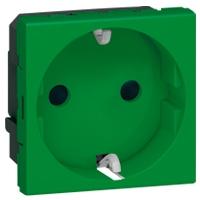 Розетка 2Р+E с зеленой лицевой панелью Mosaic