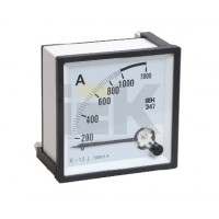 Амперметр аналоговый панельный транс.включения для измерения переменного тока до  100А 72х72мм серия Э47