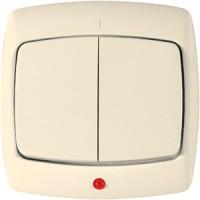 Выключатель 2 клавишный с индикатором слоновая кость РОНДО (уп. 90 шт)