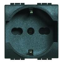 Розетка 2P+E 16A с центральным и боковым заземляющий контактом антрацит Living