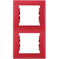 Рамка 2 пост вертикальная красный Sedna