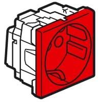 Розетка 2Р+E 2 модуля с блокировкой красный Mosaic