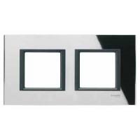 Рамка 2 поста черное стекло Unica Class
