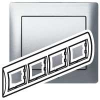 Рамка 4 поста Brushed Aluminium