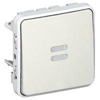 Кнопка 10A NO встраиваемая с подсветкой, белый  IP55 Plexo