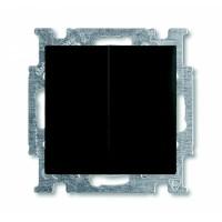 Выключатель 2-клавишный с подсветкой шато черный Basiс 55