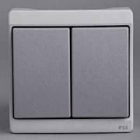 Выключатель 2 клавишный встраиваемый (для ENN377**) IP55 серый Mureva