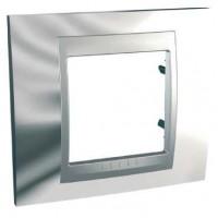 Рамка 1 пост металл, Хром  Unica top алюминий