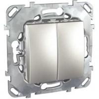 Выключатель 2 клавишный алюминий Unica Top