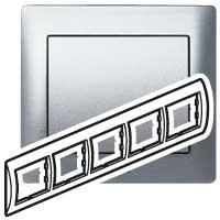 Рамка 5 постов Brushed Aluminium