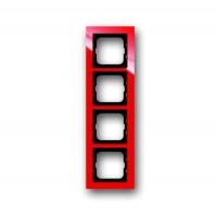 Рамка 4 поста цвет красный Axcent