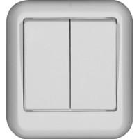 Выключатель 2 клавишный, белый, откр. установки ПРИМА (уп. 130 шт)