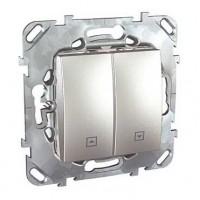 Выключатель для жалюзи нажимной алюминий Unica Top