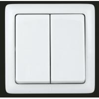 Выключатель 2 клавишный белый ХИТ