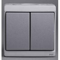 Выключатель 2 клавишный IP55 серый Mureva