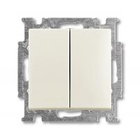 Выключатель 2-клавишный  шале белый Basic 55