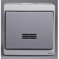 Выключатель кнопочный 1 клавишный с подсветкой IP55 серый Mureva