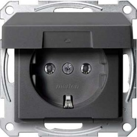 Розетка 2P+E 16 A с крышкой антрацит  System M