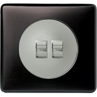Накладка для выключателя/переключателя с рычажком 2 клавишного графит Celiane