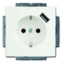 Розетка 2Р+Е 16А с USB - разъемом 700 mA белый Basic 55